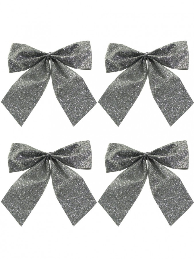 Small Silver Bow Decorations - 6 x 80mm
