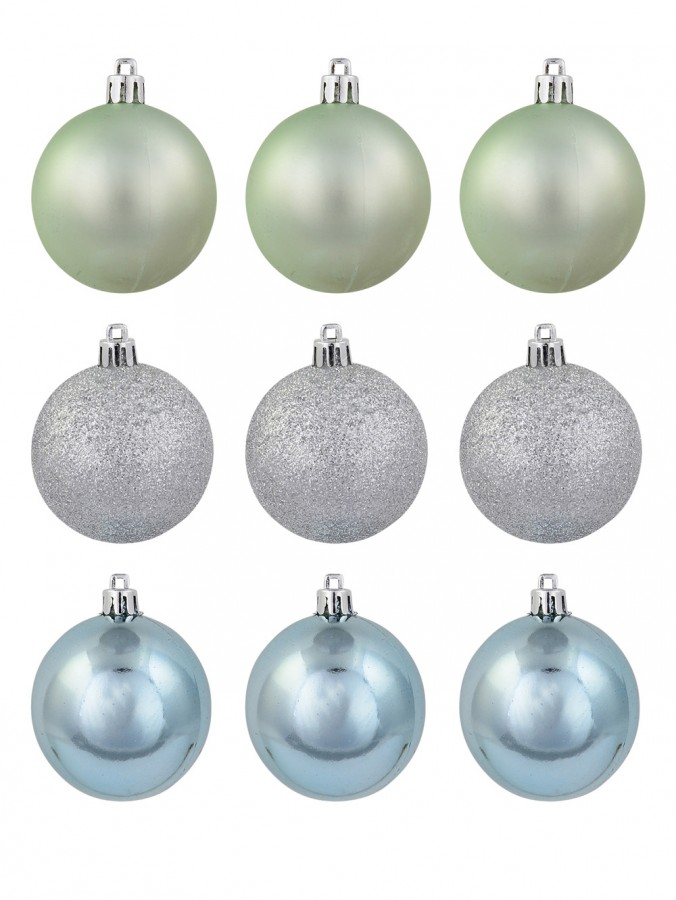 Pastel Green, Blue Matte & Silver Glitter Baubles - 9 x 60mm