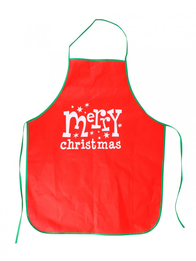 Merry Christmas With Stars Red Polyester Apron - 1 Size Fits Most