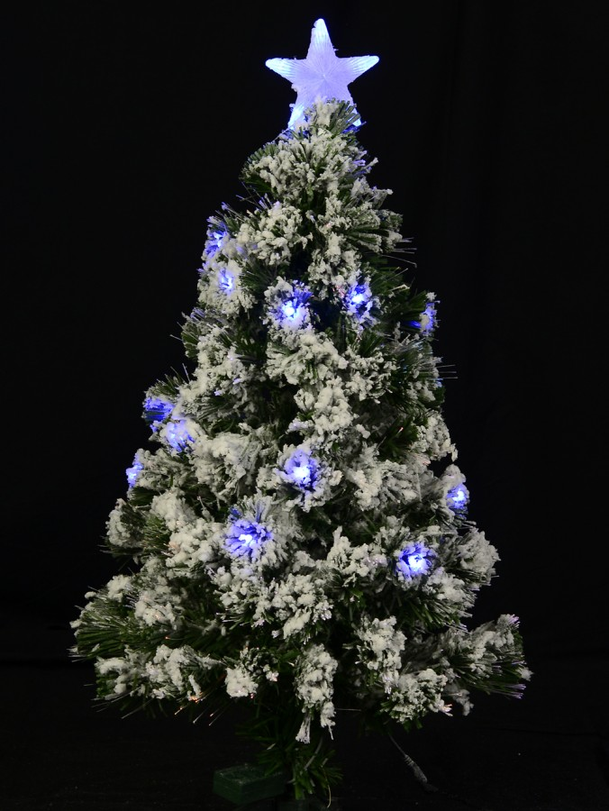 Snow Flocked Blue LED Light Christmas Tree - 90cm