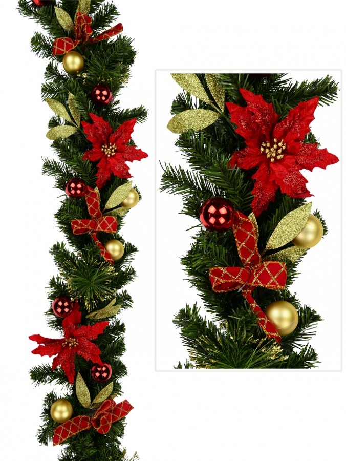 Red & Gold Garland With Poinsettias, Baubles Leaves & Gold Tips - 1.8m