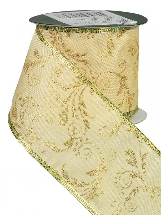 Gold & Champagne Floral Pattern Satin Ribbon - 3m
