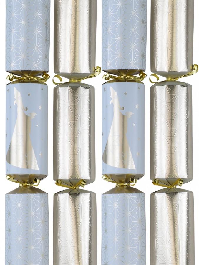 White & Gold With Stars & Magus Christmas Cracker Bon Bons - 10 x 36cm