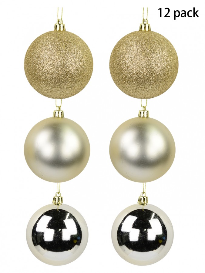 Champagne Gloss, Glitter & Pearl Baubles - 12 x 80mm