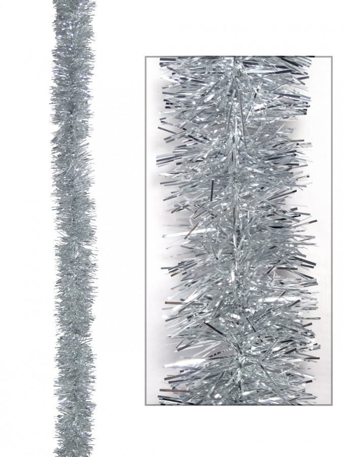 Silver Metallic 6ply Tinsel Garland - 50mm x 5m