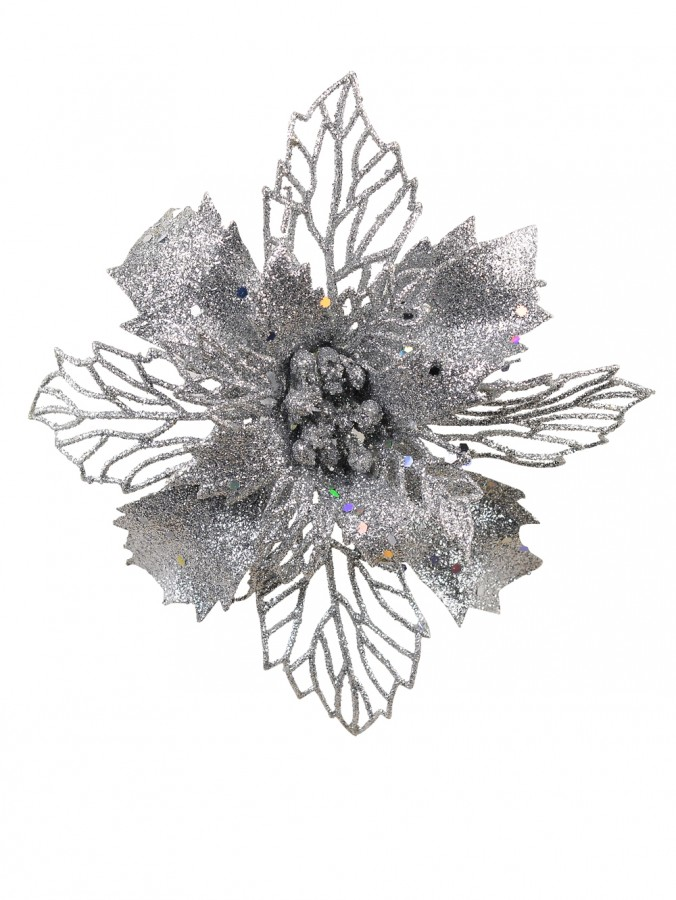 Silver Two Leaf Style Glittered Decorative Poinsettia Floral Pick - 18cm