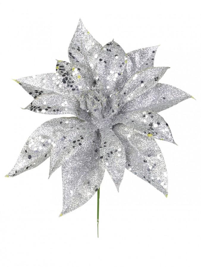 Silver Poinsettia Pick - 19cm