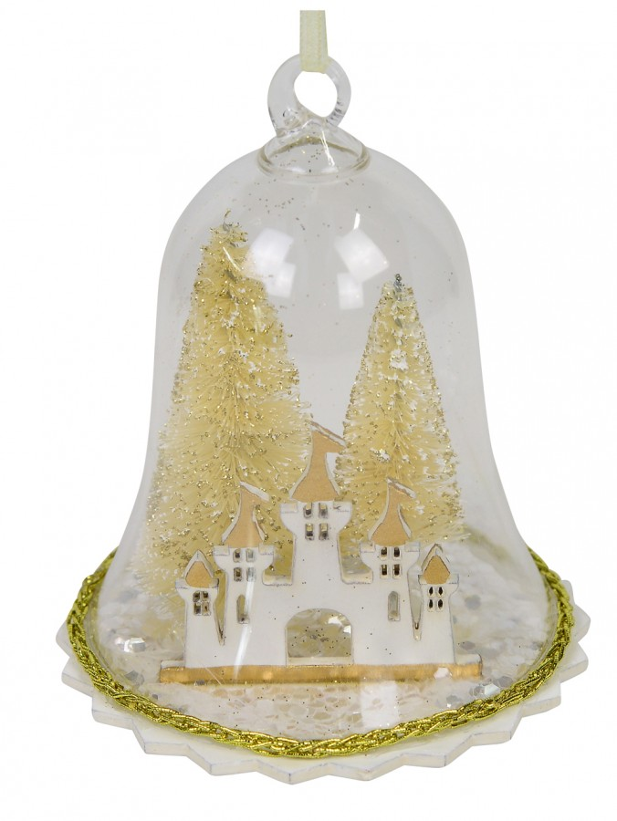 Clear Bell with Gold Trees & Castle Christmas Tree Hanging Decoration - 12cm