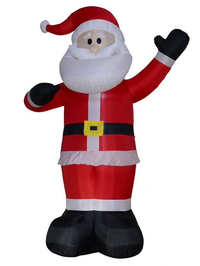 Gigantic Standing & Waving Santa Illuminated Inflatable - 4m