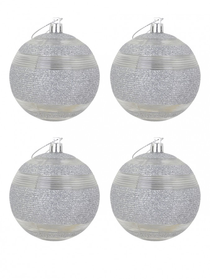 Silver Glitter Baubles With Clear Lined Trim - 4 x 80mm