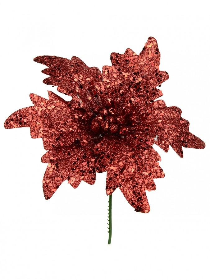Red Glittered Flecks Poinsettia Pick - 16cm