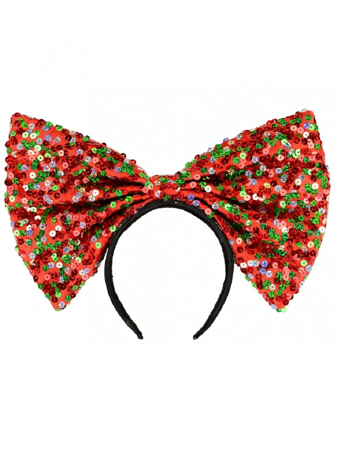 Red Christmas Bow Headband With Three Colour Sequin Decorations - 32cm
