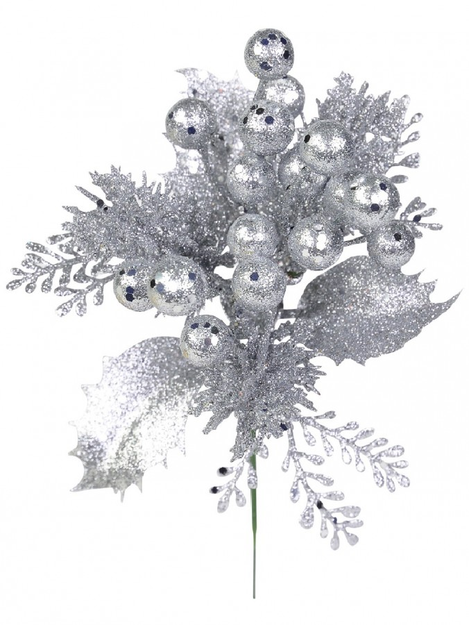 Silver Glittered Decorative Berry Floral Pick With Twigs & Leaves - 20cm