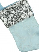 Mini Blue With Silver Cuff Christmas Stocking Hanging Decorations - 6 x 15cm