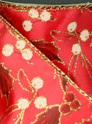 Gold Edged Solid Red Fabric With Gold Glitter Holly Print Christmas Ribbon - 3m