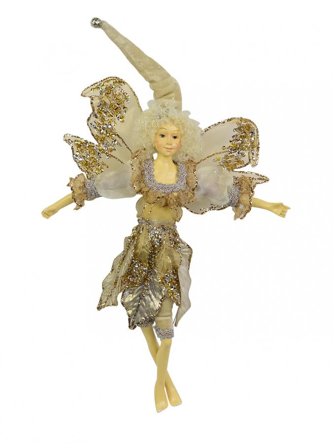 Metallic Gold Christmas Fairy Elf Hanging Ornament - 35cm