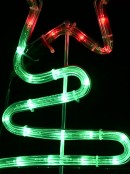 Green LED Christmas Trees With Red Stars Path Rope Light Silhouettes - 72cm