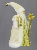 Traditional Father Christmas With Gift & Staff Ornament Or Tree Topper - 26cm