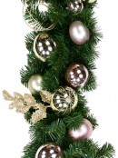 Champagne & Pink Bauble, Holly Leaf & Whisker Loops Garland - 2.7m