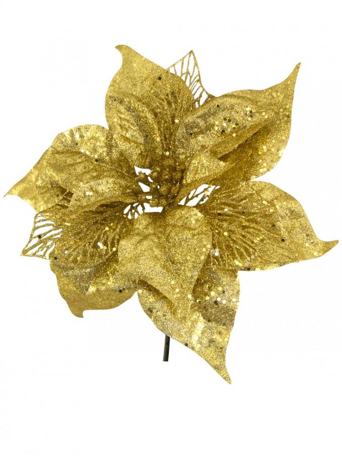 Gold Sequin & Glitter Poinsettia Decorative Christmas Floral Pick - 26cm