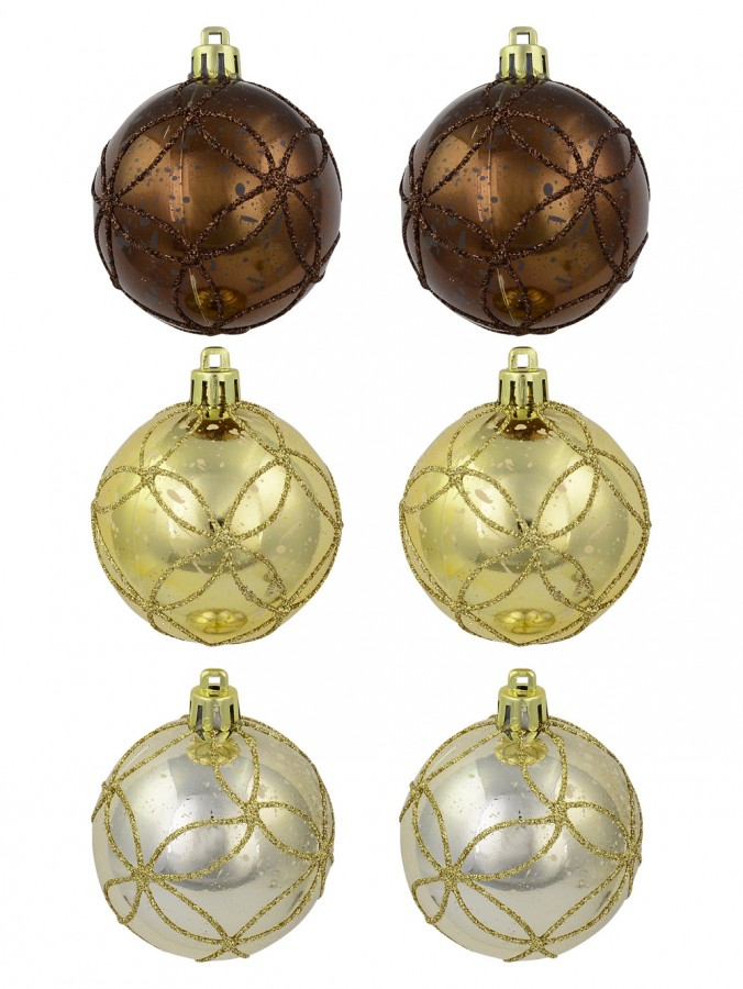 Brown, Gold & Ivory Speckled With Glitter Detail Baubles - 6 x 60mm