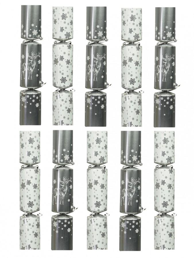 Silver & White Reindeer / Snowflake Bon Bons - 35cm x 10 Pack
