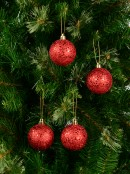 Red Metallic Sequins & Glitter Coated Baubles - 12 x 60mm