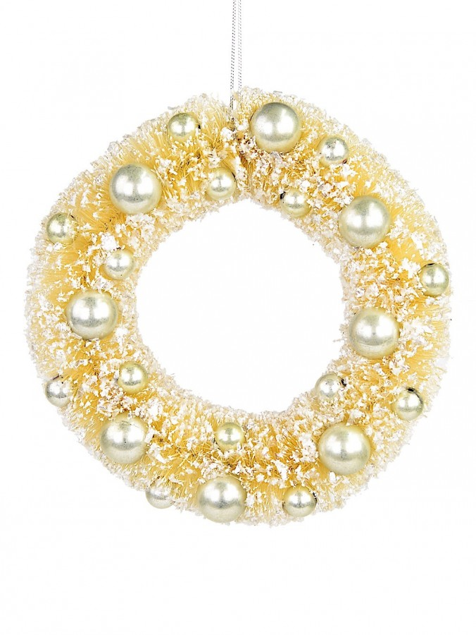 Soft Gold Sisal Wreath With Champagne Ball Decorations - 20cm