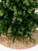 Red Glittered Snowflake Pattern Natural Hessian Christmas Tree Skirt - 88cm