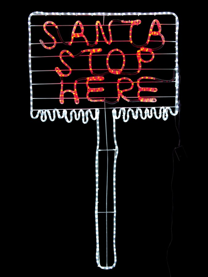 Santa stop here sign post led rope light silhouette 15m santa stop here sign post led rope light silhouette 15m aloadofball Image collections